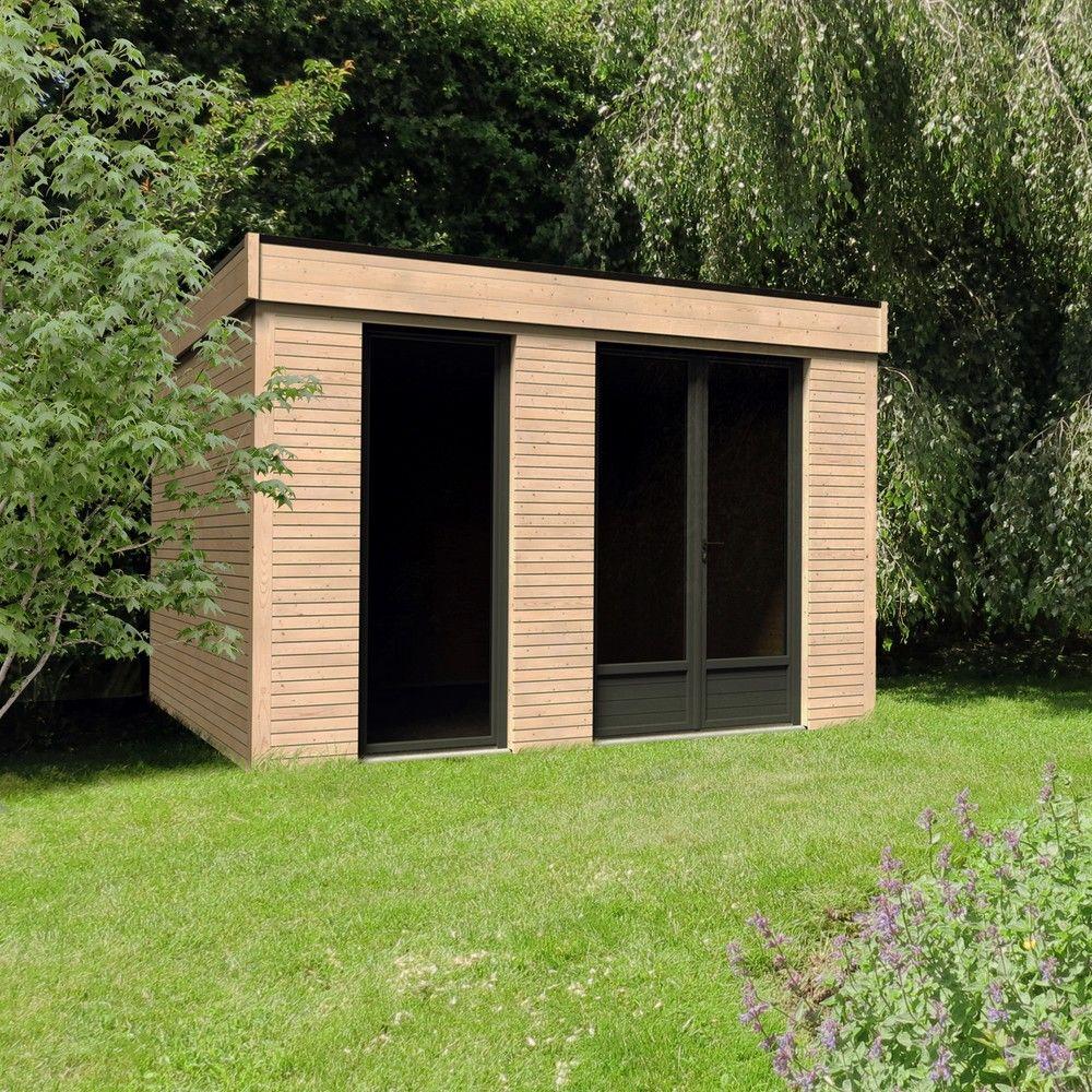 abri de jardin semi habitable toit plat decor home 10 91 m ep 90 mm