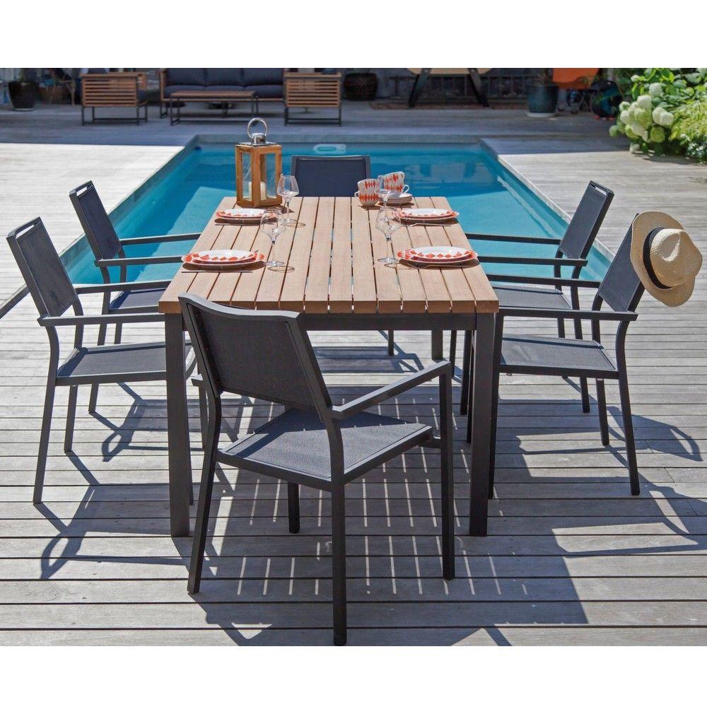 table de jardin vegas l210 l90 cm aluminium bois
