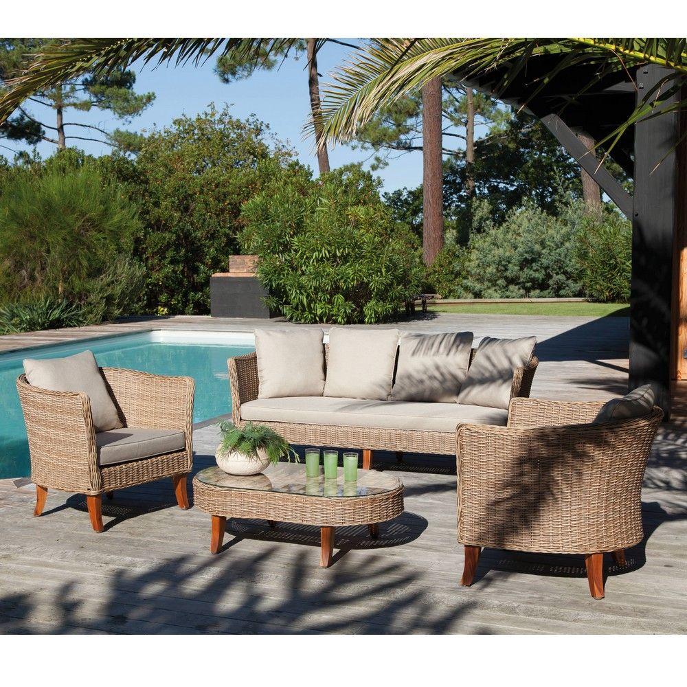 salon de jardin bas avani resine tressee 2 fauteuils 1 canape 1 table
