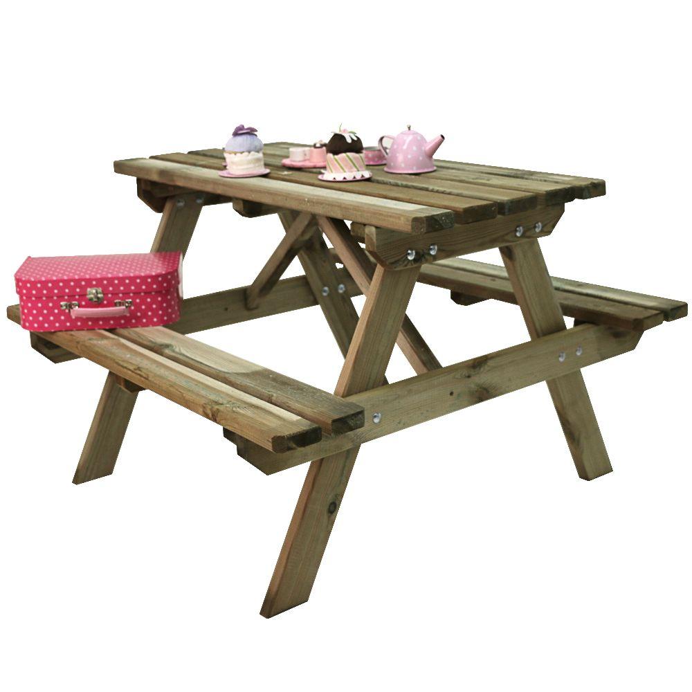table de pique nique enfant bois traite autoclave wapiti l90 l90 cm