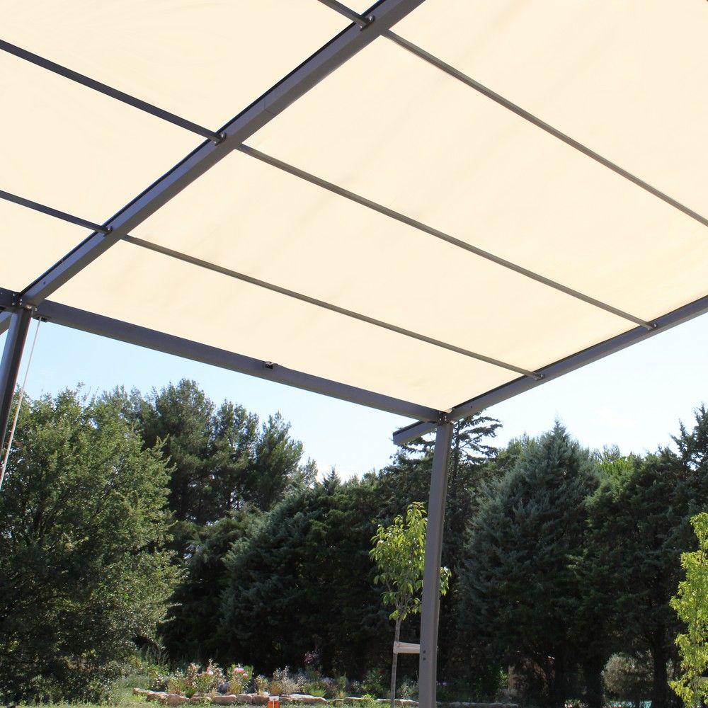 tonnelle adosse aluminium toile renforce 4x3 35m solea