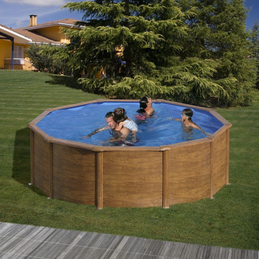 piscine acier ronde maldivas aspect bois d 4 60 m gre