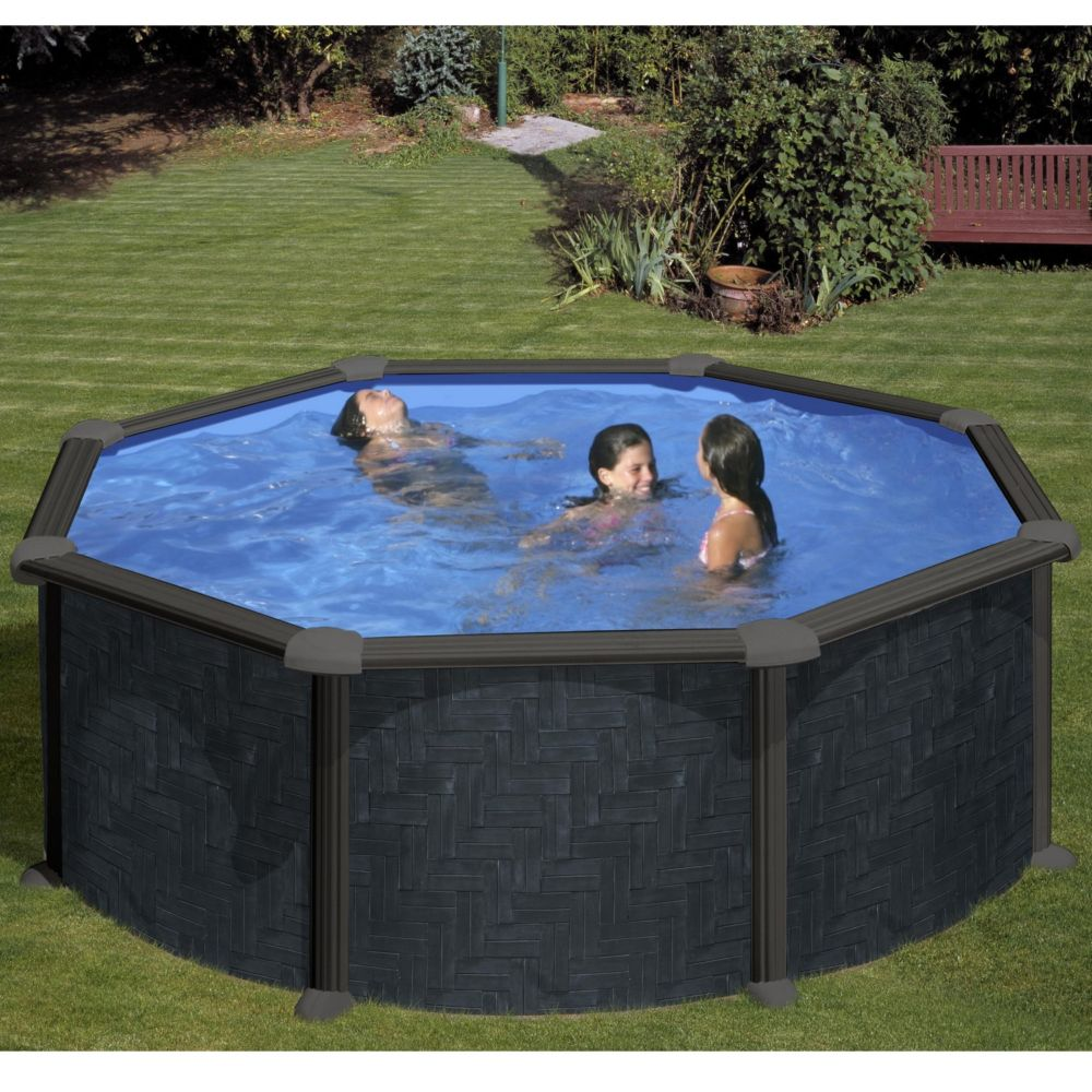 piscine acier ronde rattan d 3 50 m anthracite gre
