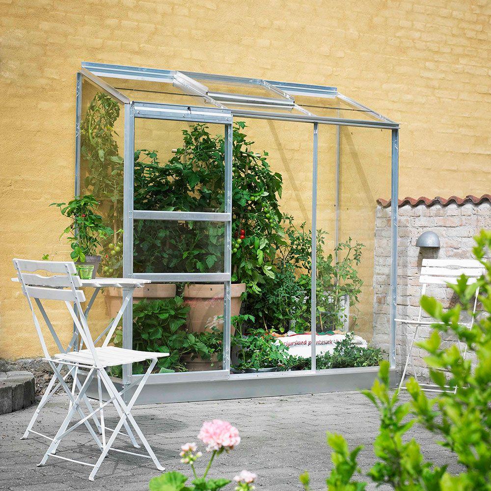 serre adossee en verre horticole altan aluminium 1 30 m embase halls