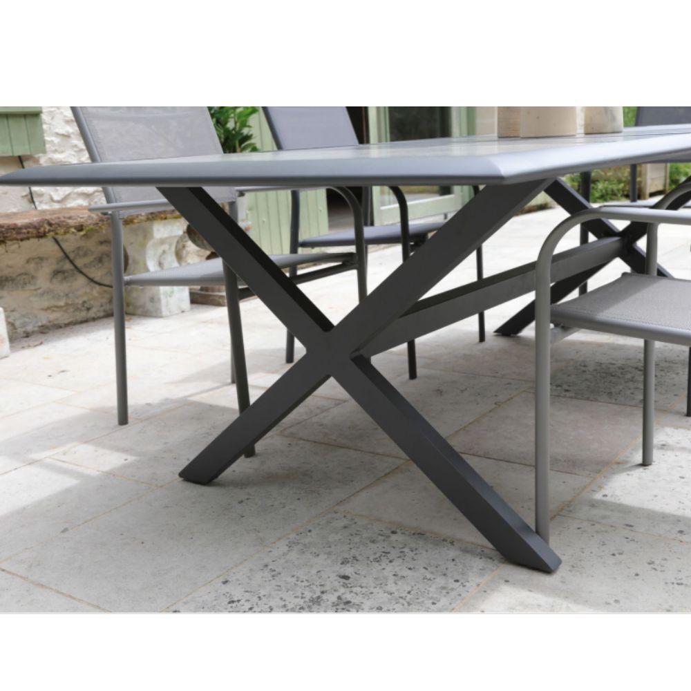 table de jardin aluminium et ceramique 220 cm