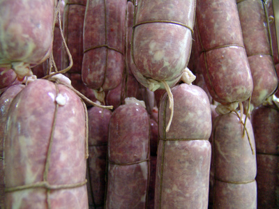Freshly made salame
