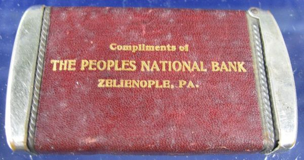 Antique Match Safe The Peoples National Bank Zelienople ...