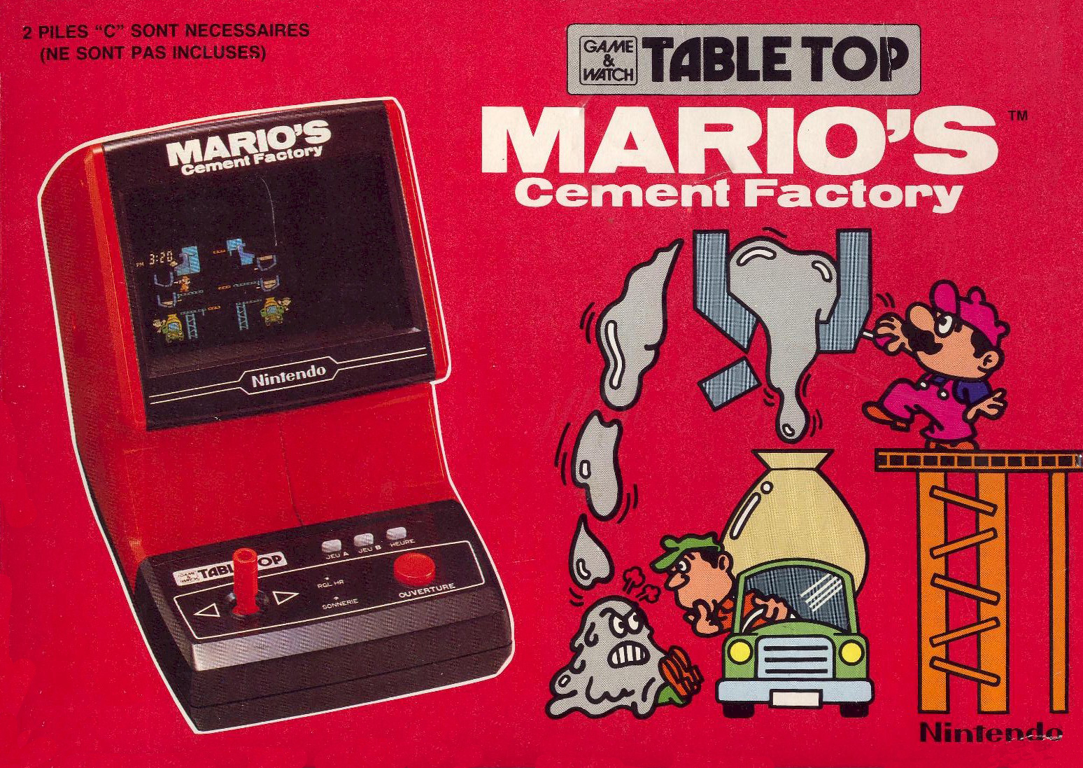 Mario's Cement Factory Nintendo Tabletop CM-72 Game&Watch