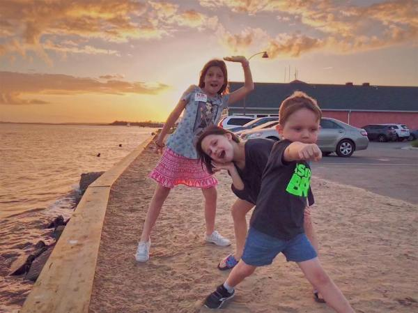 Never a bad time to strike a pose. #goofballs #blesseddaddy #sunseteclipsed