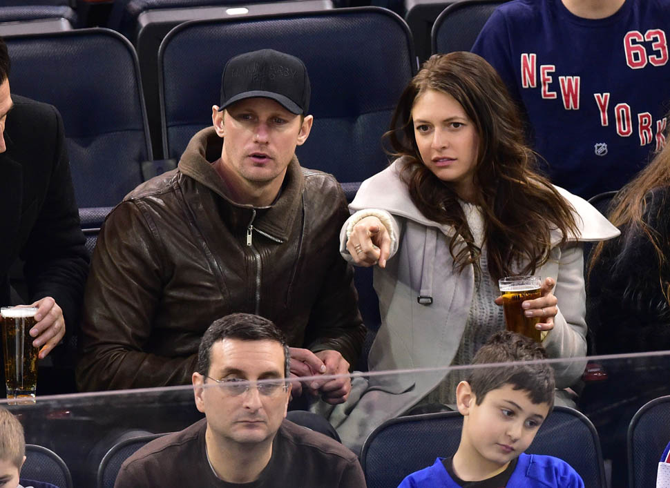 Alexander Skarsgard At Rangers Game Without Alexa Chung