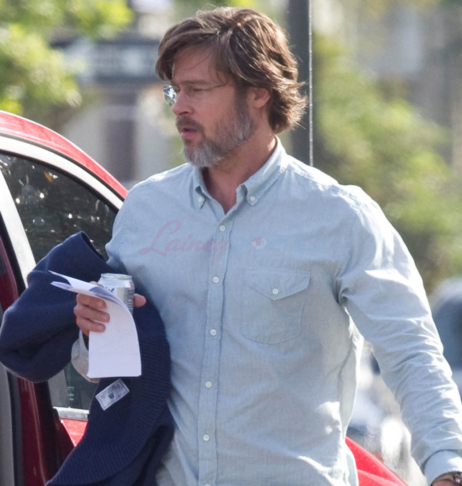 Brad Pitt Is Your Dad In A Suit On The Set Of The Big