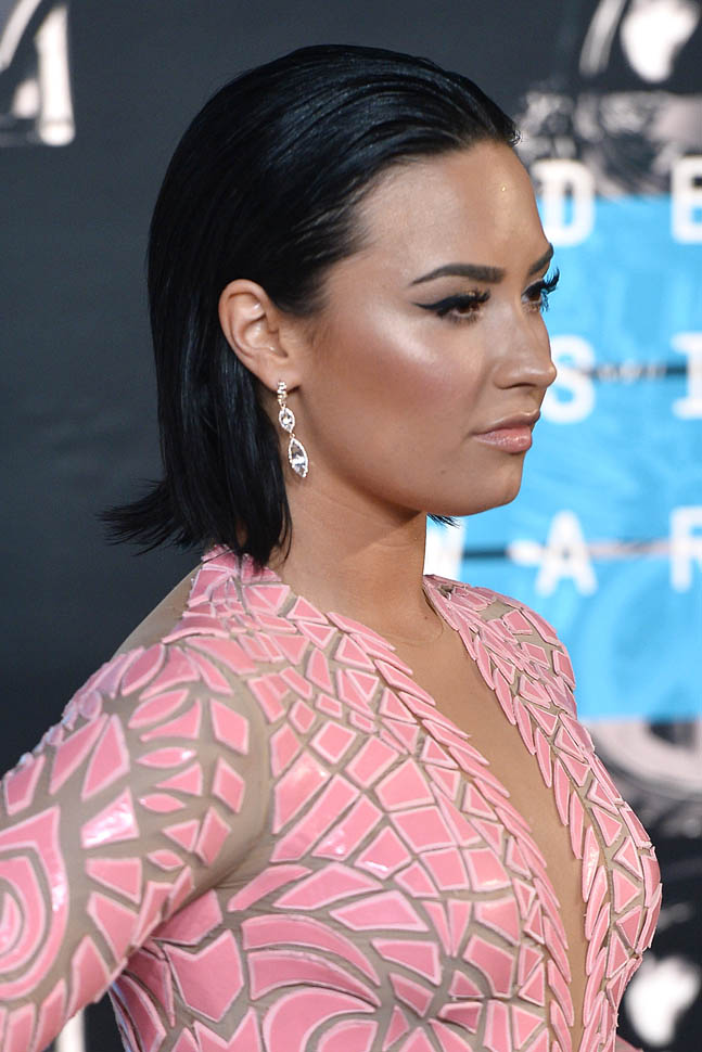 Carpets Amp Candids Demi Lovatos Wet Hair And Blush Dress
