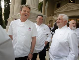 Gordon Ramsay, Francois Payard, Guy Savoy and Michel Richard attend the 2013 Vegas Uncork'd by Bon Appetit Grand Tasting at Garden of the Gods at Caesars Palace on Friday, May 10, 2013.