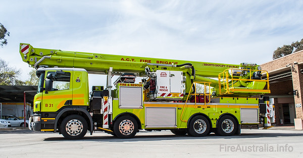ACT Fire Brigade's 44 metre Bronto F44RLX-ERX Ladder Platform, or Scania P380 Cab Chassis. Bodywork by Liquip of Queensland
