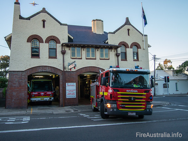 MFB Pumper alongside P22 in Leichhardt Fire Station