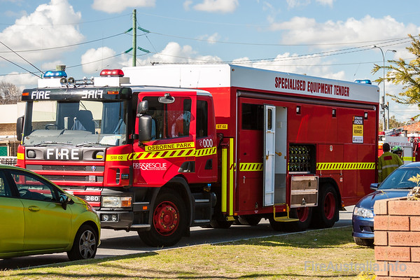 WA FRS Osborne Park SETSpecialised Equipment Tender from Osborne Park in attendance at a 3 Alarm Residential Fire