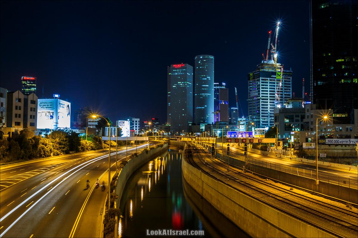 Ночной Тель-Авив, трасса Аялон и башни Азриэли | LookAtIsrael.com - Фото путешествия по Израилю