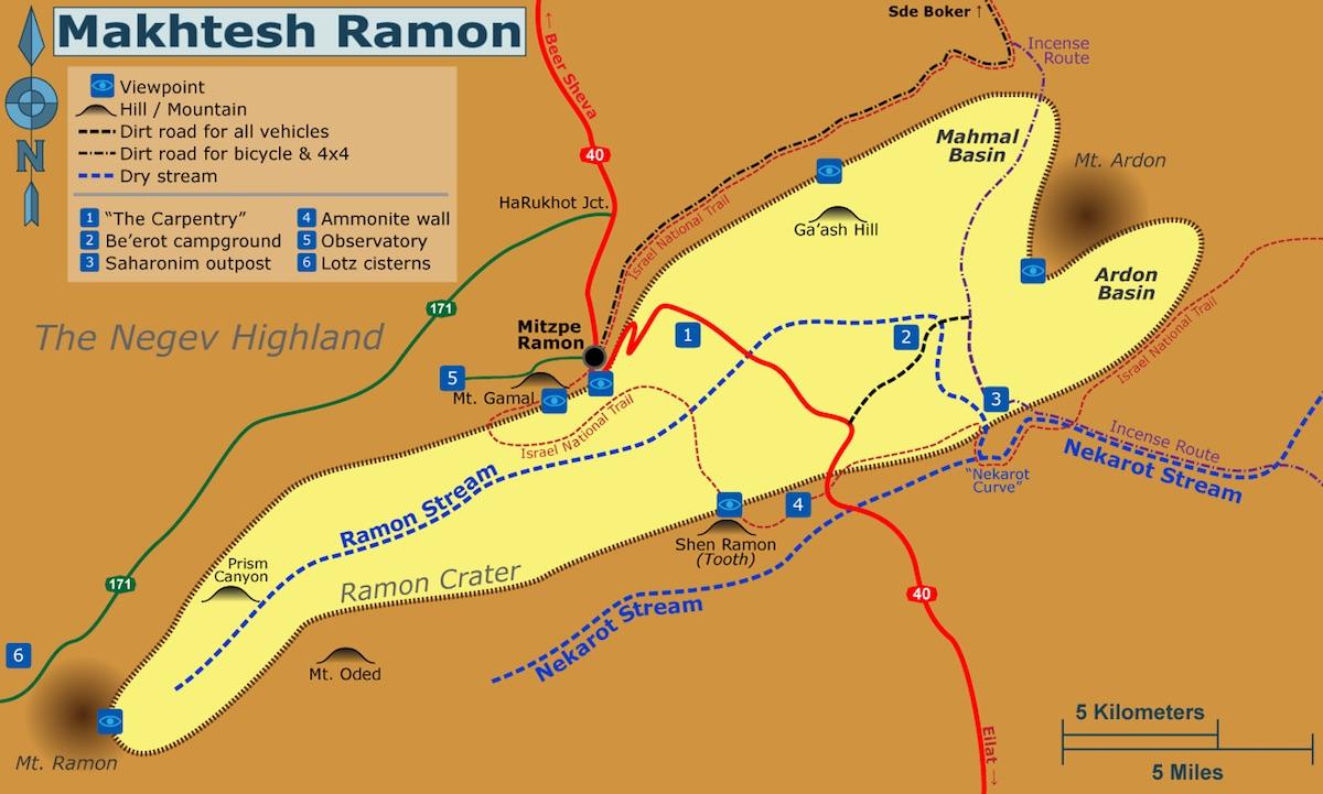 Махтеш Рамон, карта   LookAtIsrael.com - Фото путешествия по Израилю