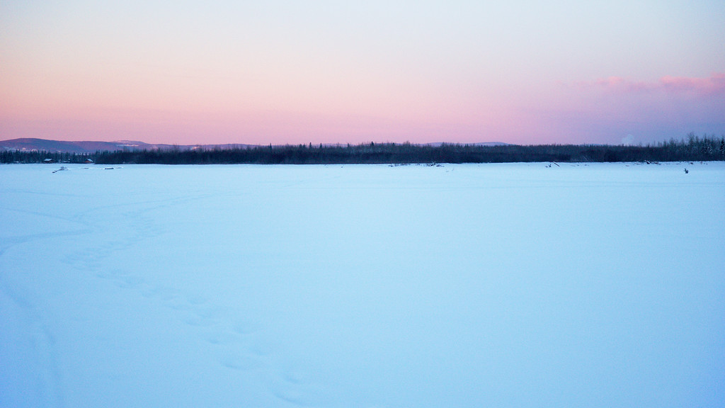Looking up toward Fairbanks from the Tanana after sunset.