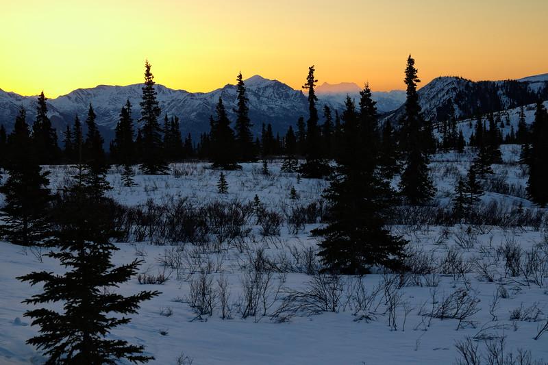 Looking east out from Denali National Park toward Mt. Deborah in the Alaska Range.