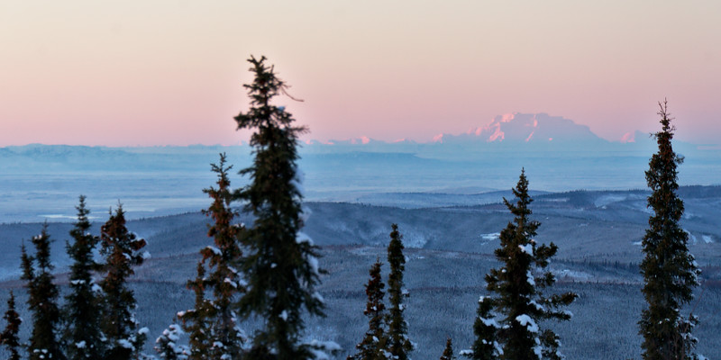 Kind of unreal to view the largest mountain in North America from Fairbanks. Almost exactly 150 miles away.