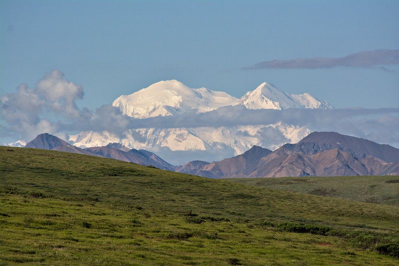 The clouds managed to clear for a few hours giving a good view of the summits.