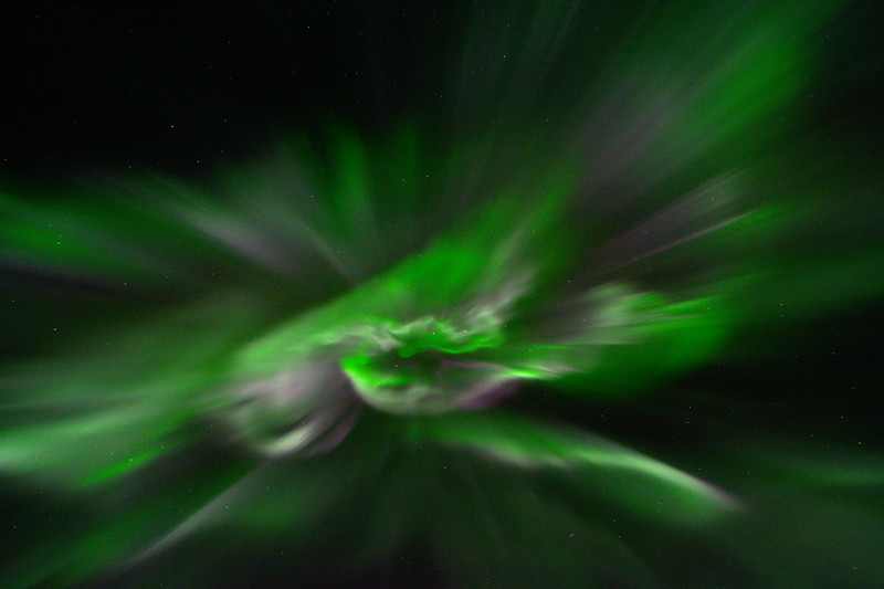 This auroral corona seemed to last for a really long time. Usually only erupting for a few seconds, I think I had about a minute of shooting this one. In the center you might be able to make out the big dipper, but the stars were pretty dim compared to the northern lights that night!
