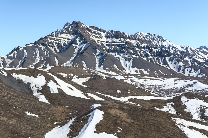 Double Mountain in Denali National Park viewed from peak 3992 in the Teklanika foothills.