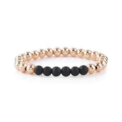 Bracelet plaqué or rose perles onyx - vue 1