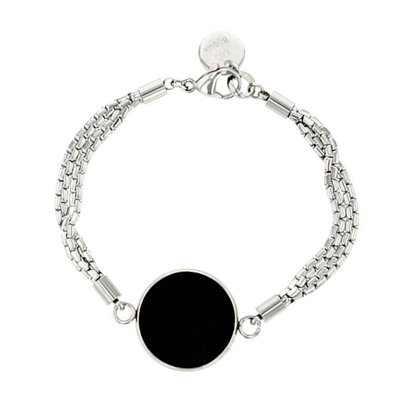 Bracelet Lo S Bijoux Acier Inoxydable Et Motif Rond En Cuir Noir Femme Bracelet Souple Maty