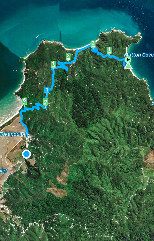 Abel Tasman Coast Track - Great Walks NZ. A birds-eye satellite view of the hike from Takapou Bay to Mutton Cove, across the Northernmost tip of Abel Tasman National Park.