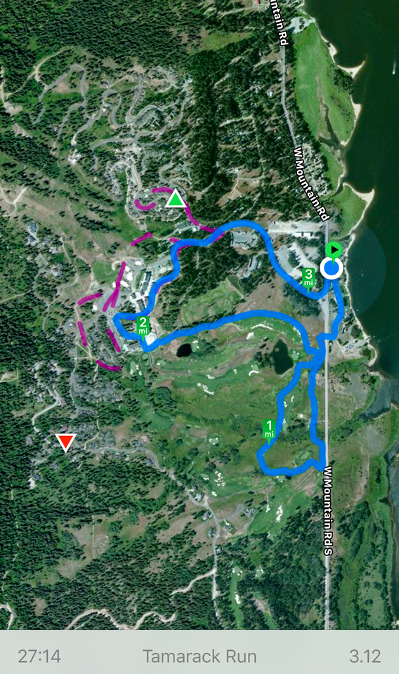 Idaho Resorts: Tamarack Resort.  A satellite map view of a running route through Idaho's Tamarack Resort near Cascade and Donnelly, Idaho.  The route shows West Mountain Road and the home site developments inside Tamarack, as well as the edge of Cascade Lake and the Idaho State Parks on the West side of the lake.