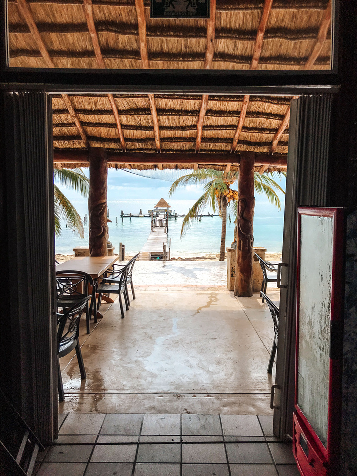 Things to do in Puerto Morelos Mexico. The view of white sand beaches and a pier looking out from a restaurant in Mexico's Puerto Morelos, a town South of Cancún along the Riviera Maya.  A thatched roof covers an outdoor eating area, and palm trees heavy with coconuts border the water.