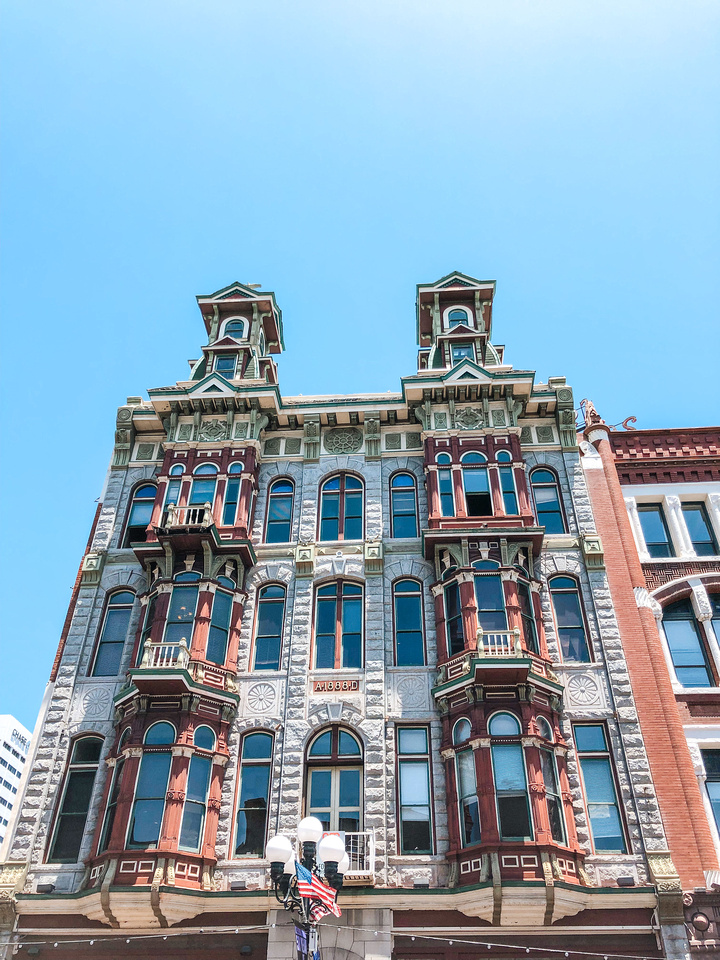 Victorian, Queen Anne, and French Château Architecture Stock Photos. Buildings in San Diego's Gaslamp District, an example of Victorian Queen Anne style architecture.