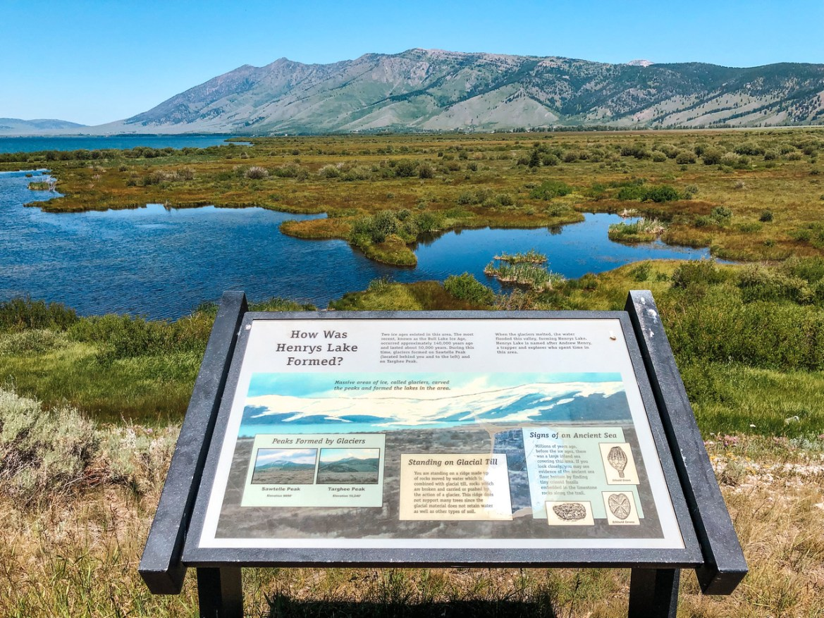 A wide-angle view of Henrys Lake and an interpretive sign at the inlet to the lake, from hiking trails that lead out from Idaho's Henrys Lake State Park.  Reeds and other marshland vegetation grows in the foreground, and the Targhee National Forest and mountain range are visible in the distance.