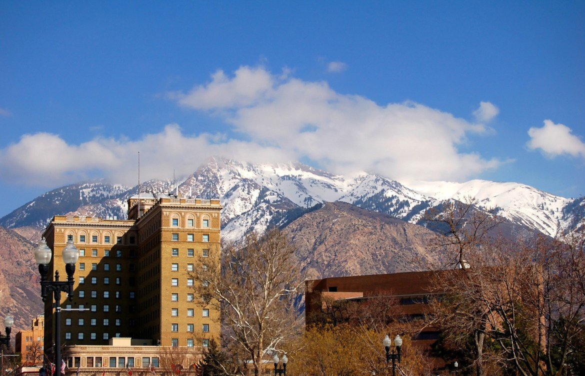 Hotel Photography: The Bigelow Hotel and Residences, built in 1927 in the Italian Renaissance Revival architectural style in Ogden, Utah.  The Hotel sits across the street from city hall park and less than a mile from the famous Union Station.  Snow-covered mountains are visible in the distance.