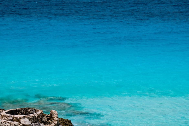 A view into the Caribbean along the coast of Mexico's Yucatán Peninsula, near Isla Mujeres and Cancun.