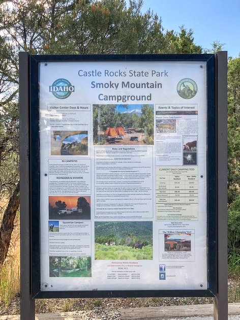 A large sign at the entrance to the Castle Rocks State Park Smoky Mountain Campground.  The Castle Rocks Smoky Mountain Campground has spacious camp sites, with ample parking and distance between sites.