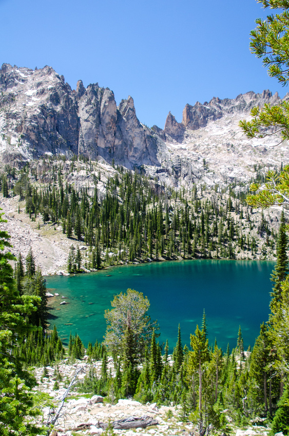 Best Baron Lakes Idaho Hikes - Grandjean Campground and Trailhead to Redfish Lake.  Views of Upper Baron Lake from the switchbacks leading to the saddle overlooking the Baron Lakes Basin.