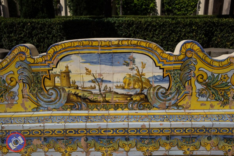 A Bench Made of Hand-Painted Majolica Tiles in the Cloisters of the Santa Chiara Complex (©simon@myeclecticimages.com)
