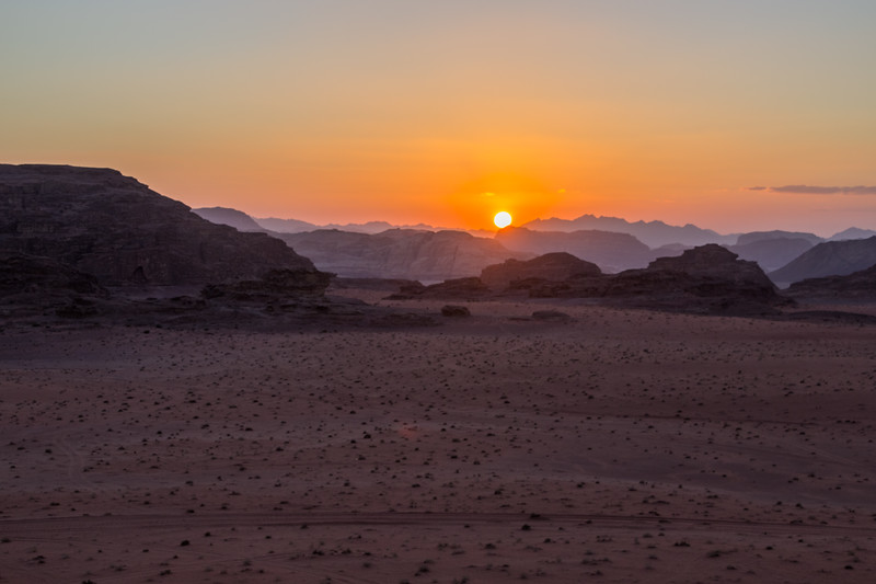 Sunset Across the Desert in Wadi Rum Using the Jordan Pass to Enter the Area (©simon@myeclecticimages.com)