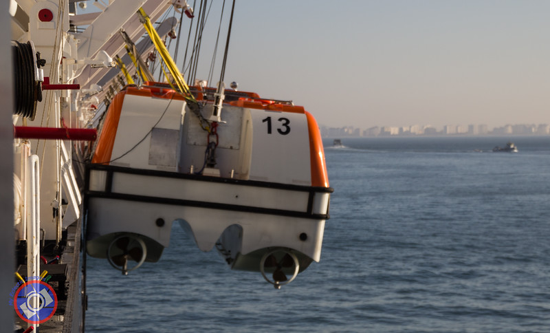 Westerdam's Lifeboats Lowered as Part of a Pre-Atlantic Crossing Safety Drill (©simon@myeclecticimages.com)