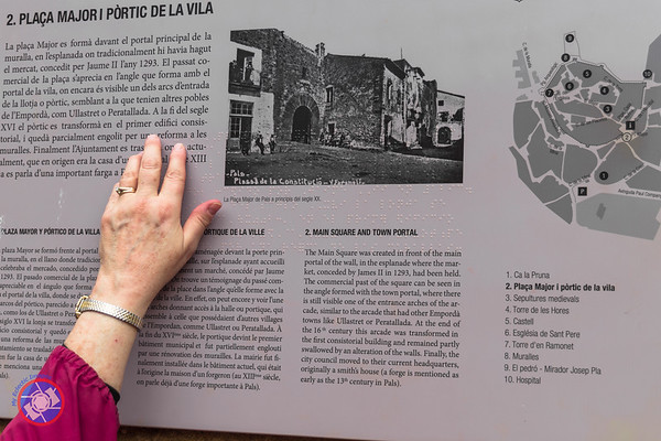 Historical Marker in Pals Showing How Braille Has Been Integrated for the Benefit of the Blind (©simon@myeclecticimages.com)