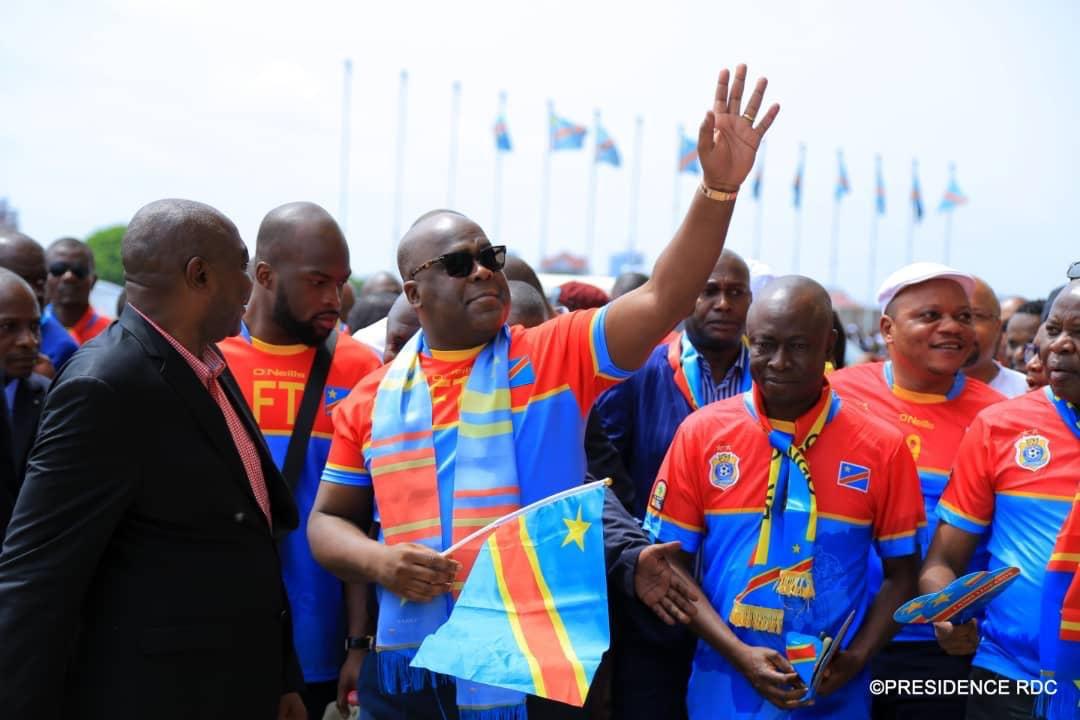 Le Chef de l'Etat a été au Stade des Martyrs lors de la rencontre RDC-Liberia le 24 mars 2019 à Kinshasa. Photo Présidence RDC.