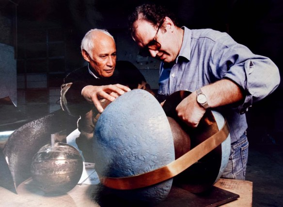 "Paul Fraughton | The Salt Lake TribuneKarl Momen and Neal Hadlock during the construction of the ""Tree of Utah."""