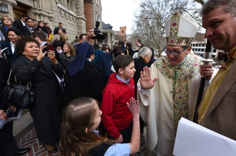 Francisco Kjolseth | The Salt Lake Tribune Newly installed Bishop Oscar A. Solis greets his congregation following cervices at the Cathedral of the Madeleine on Tuesday, March 7, 2017.