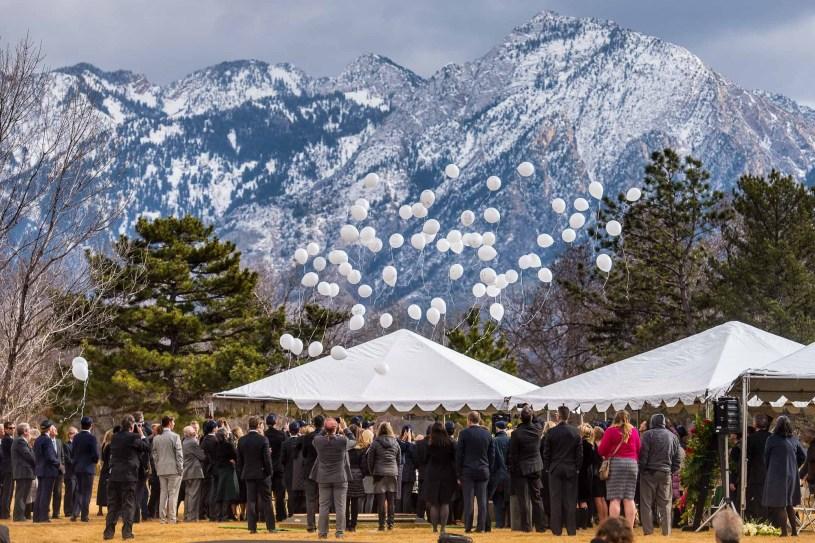 (Trent Nelson   The Salt Lake Tribune) Grandchildren release balloons at the graveside service for Jon Huntsman Sr. at Wasatch Lawn Memorial Park & Mortuary in Salt Lake City on Feb. 10.