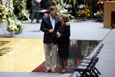 (Scott Sommerdorf   The Salt Lake Tribune) Mark Huntsman walks with his mother, Karen, at the funeral services for Jon M. Huntsman, Sr., in Salt Lake City on Feb. 10.