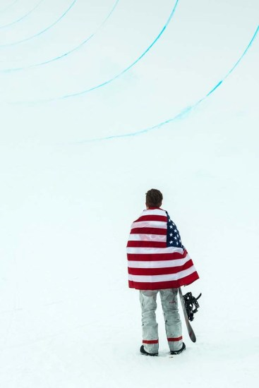 (Chris Detrick | The Salt Lake Tribune) Shaun White looks up at the halfpipe after winning gold on his run during the men's halfpipe finals at Phoenix Snow Park during the Pyeongchang 2018 Winter Olympics Wednesday on Feb. 14.
