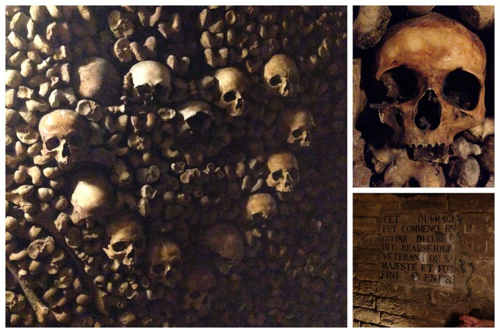Creepy Skulls Line the Walls of the Catacombs of Paris, France